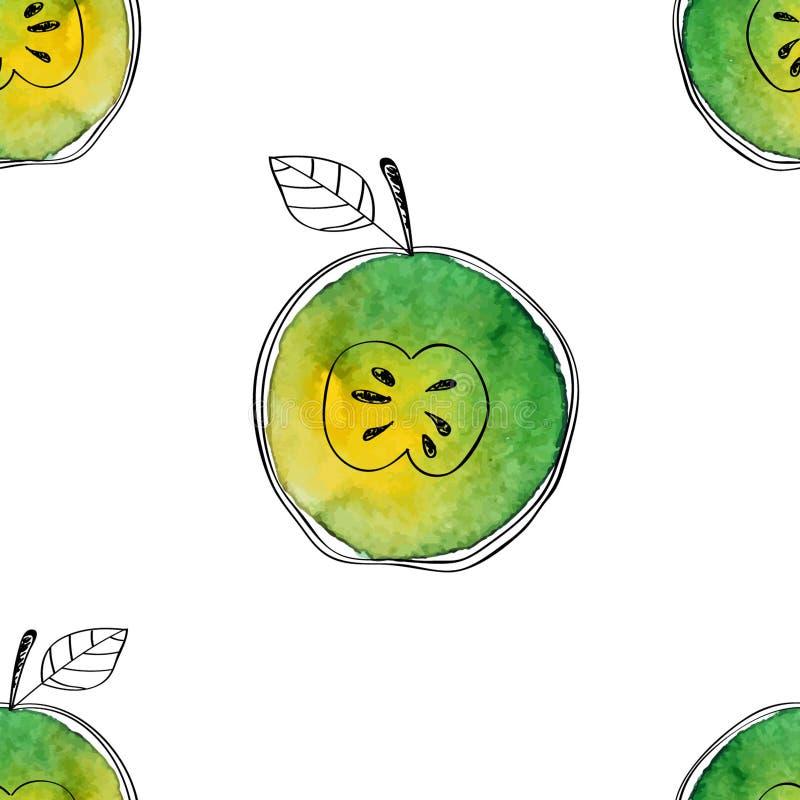 Dirigez le modèle sans couture de la pomme de vert d'aquarelle avec les éléments tirés par la main noirs Sur le fond blanc Groupé illustration stock