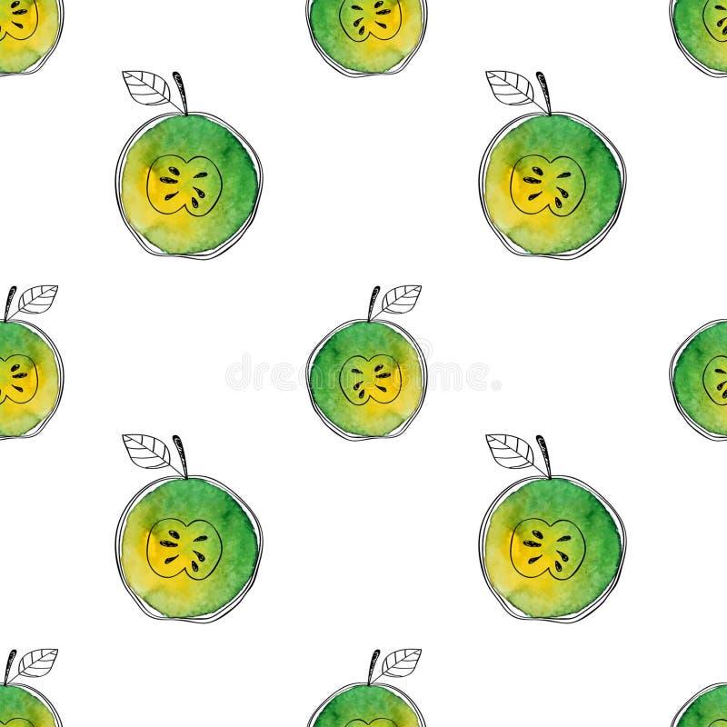 Dirigez le modèle sans couture de la pomme de vert d'aquarelle avec les éléments tirés par la main noirs Sur le fond blanc Groupé illustration libre de droits