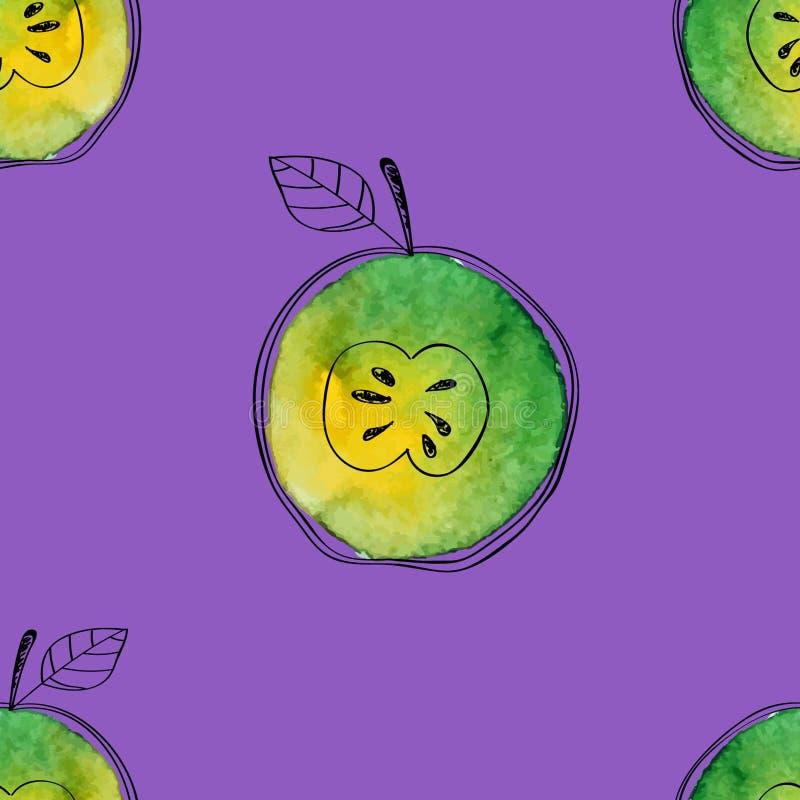 Dirigez le modèle sans couture de la pomme de vert d'aquarelle avec les éléments tirés par la main noirs Sur le fond de violette  illustration stock