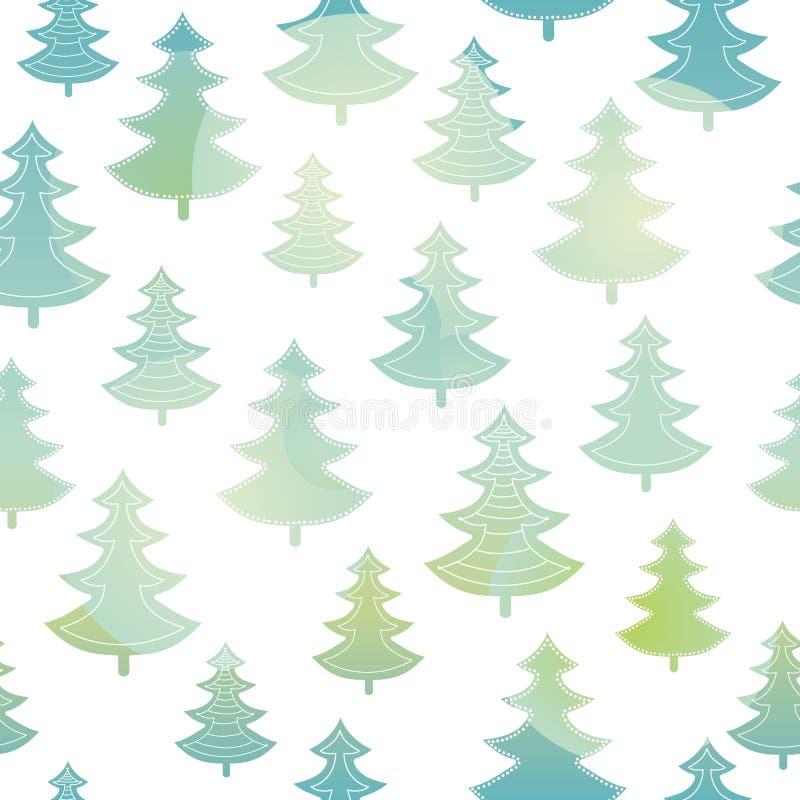 Dirigez le modèle sans couture de Noël d'arbres de vacances vertes et bleues de forêt Grand pour le tissu de vacances d'hiver, pa illustration de vecteur
