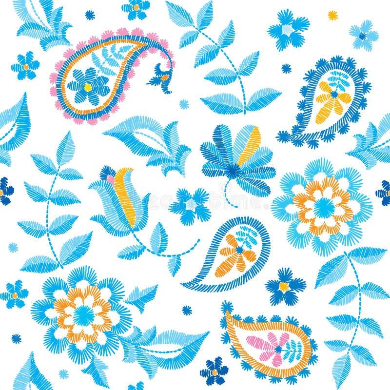 Dirigez le modèle sans couture de Paisley de broderie, l'ornement décoratif de textile, l'oreiller ou le décor de bandana Fait ma illustration de vecteur