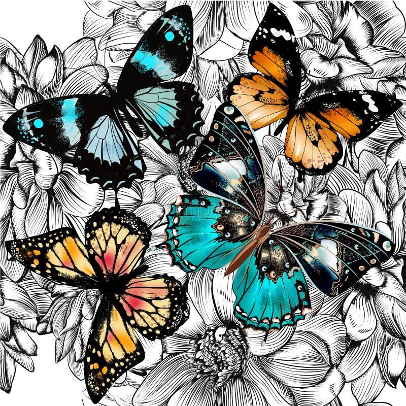 Dirigez le modèle sans couture de papier peint avec des papillons de vintage et f illustration de vecteur