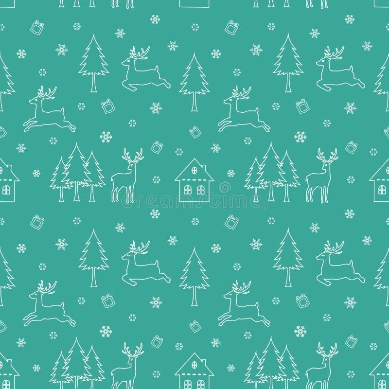 Dirigez le modèle sans couture de répétition avec les vacances de Noël, icônes de saison d'hiver sur le fond vert illustration de vecteur