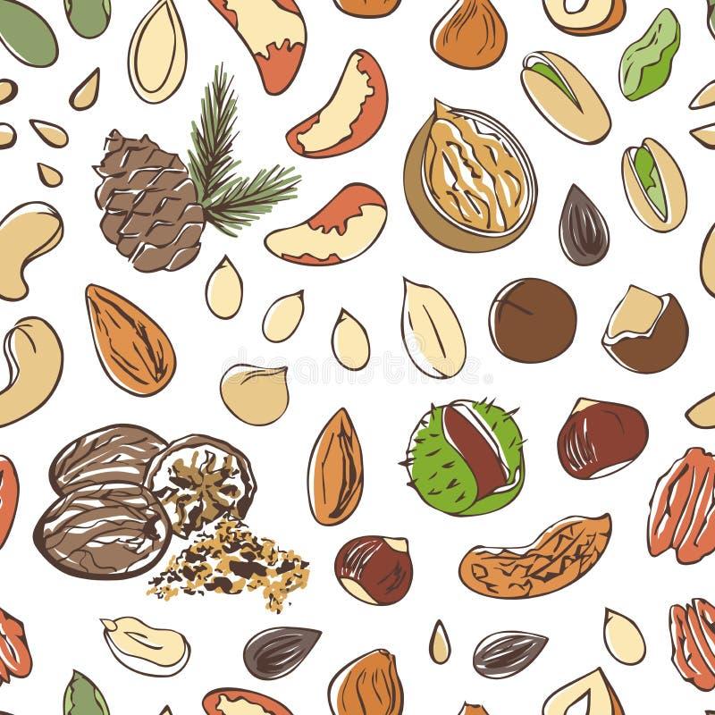 Dirigez le modèle sans couture des écrous et des graines sur le fond blanc illustration de vecteur