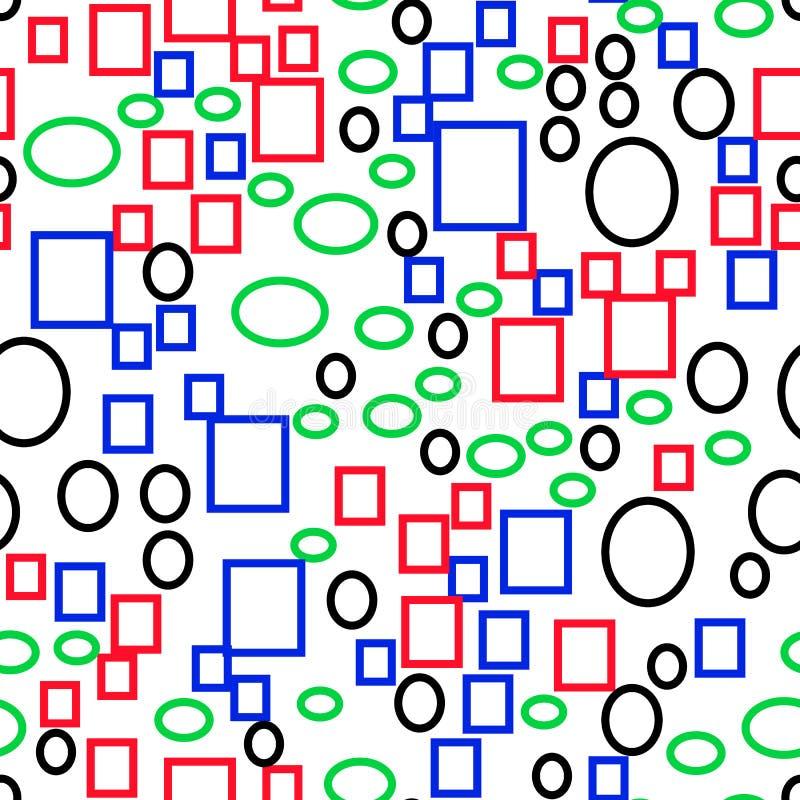 Dirigez le modèle sans couture des formes, des rectangles et des ellipses géométriques primitifs multicolores, style plat illustration stock