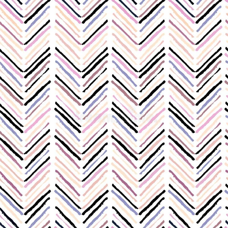 Dirigez le modèle sans couture des taches modernes de brosse faisant le chevron géométrique Couleurs de rose de pastel, beiges et illustration de vecteur