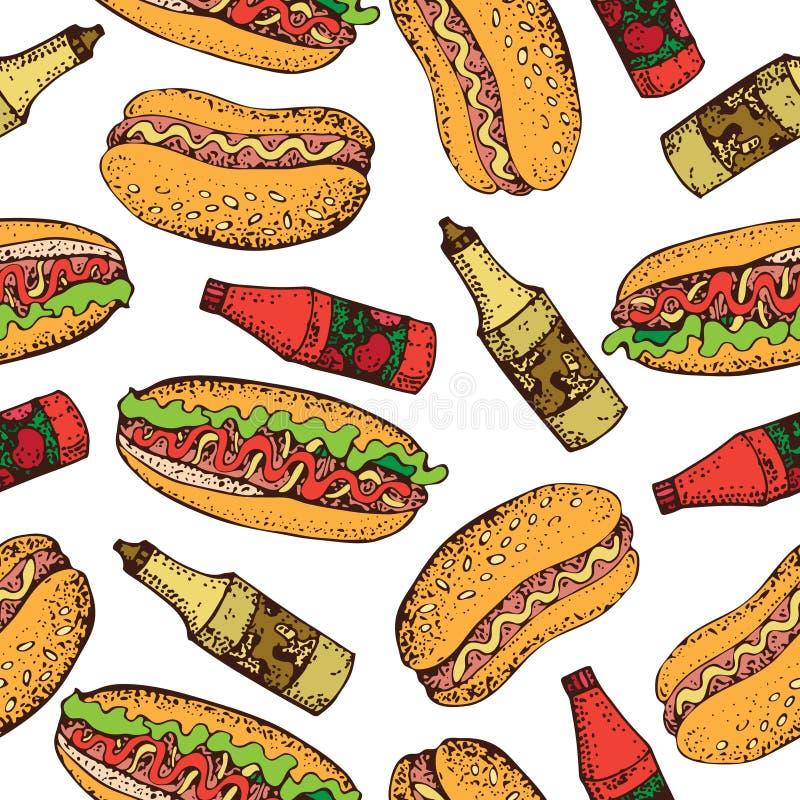Dirigez le modèle sans couture du hot-dog, de la bouteille de ketchup et de la moutarde Fond de bande dessinée d'aliments de prép illustration stock