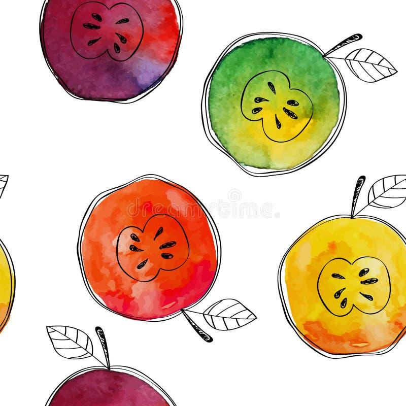 Dirigez le modèle sans couture du jaune d'aquarelle, vert, le rouge, pomme orange avec les éléments tirés par la main noirs Sur l illustration libre de droits
