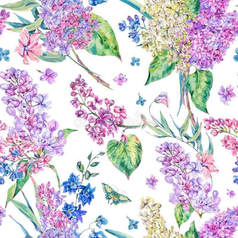 Dirigez le modèle sans couture floral de vintage avec le lilas rose illustration libre de droits
