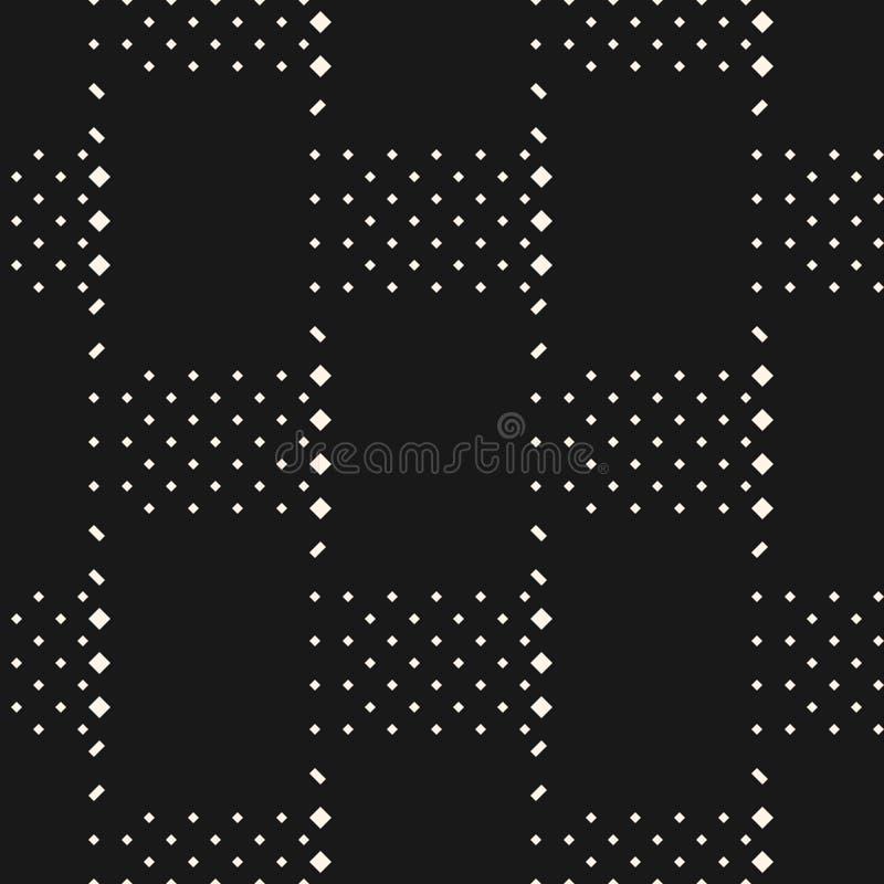 Dirigez le modèle sans couture géométrique monochrome minimal avec de petits éléments, places illustration stock
