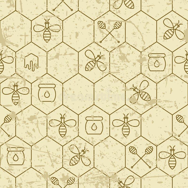 Dirigez le modèle sans couture grunge avec les abeilles, les nids d'abeilles, le symbole de plongeur de miel et les éléments liné illustration libre de droits