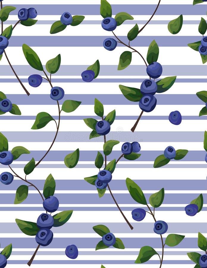 Dirigez le modèle sans couture naturel de la branche de myrtille, frui de forêt illustration de vecteur