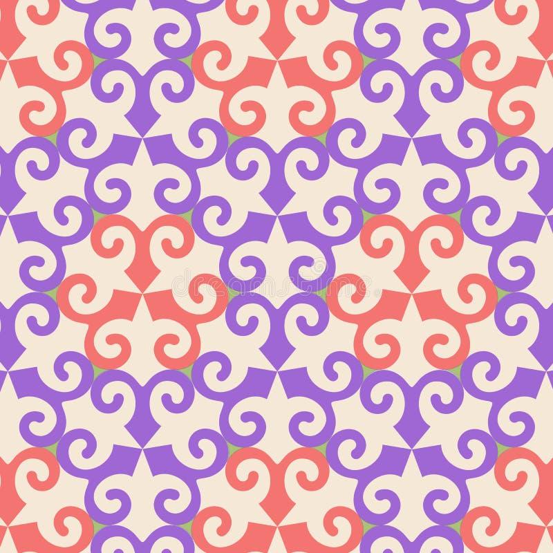 Dirigez le modèle sans couture ornemental oriental avec l'élément violet et orange illustration stock