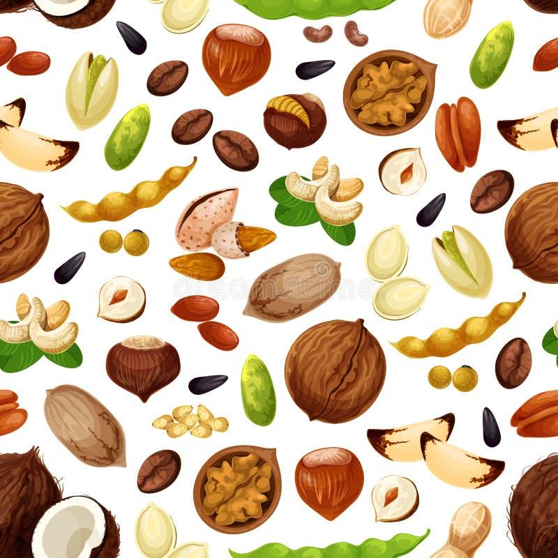 Dirigez le modèle sans couture pour des écrous et des graines de fruit illustration libre de droits