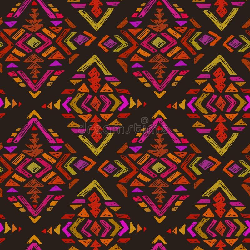 Dirigez le modèle sans couture tiré par la main avec les éléments abstraits tribals illustration libre de droits