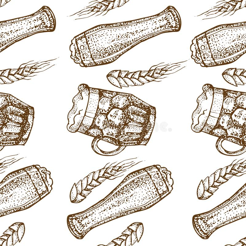Dirigez le modèle sans couture tiré par la main de la tasse en verre de bière Houblon et blé D'isolement sur le fond blanc Textur illustration de vecteur