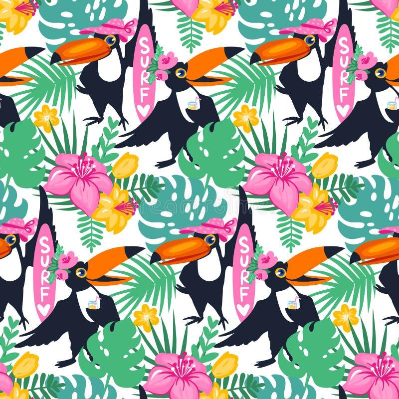 Dirigez le modèle sans couture tropical de bande dessinée avec le toucan, flo de jungle illustration de vecteur