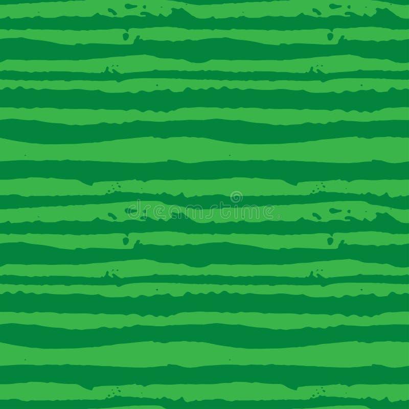 Dirigez le modèle tiré par la main sans couture barré par pastèque verte d'illustration illustration libre de droits