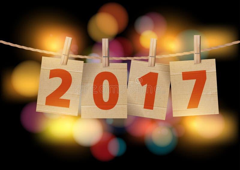 Dirigez le mot 2017 défini sur les cartes coupées par pince à linge dans l'avant illustration de vecteur