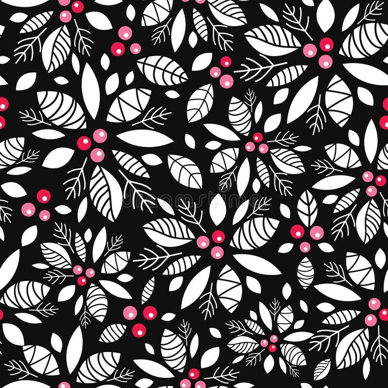 Dirigez le noir de baie de houx, blanc, fond sans couture de modèle de vacances rouges Grand pour l'emballage orienté d'hiver, gi illustration libre de droits