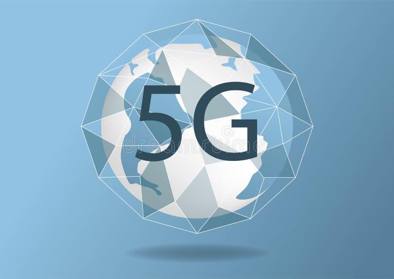 Dirigez le nouveau fond sans fil abstrait de connexion internet 5G R?seau de grande vitesse de r?seau global symbole 5g Concept d illustration libre de droits