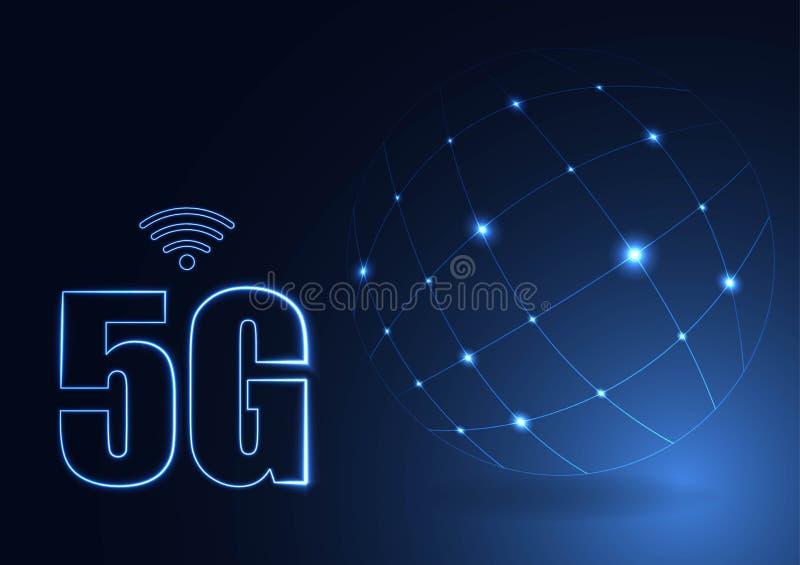 Dirigez le nouveau fond sans fil abstrait de connexion internet 5G R?seau de grande vitesse de r?seau global symbole 5G construte illustration stock