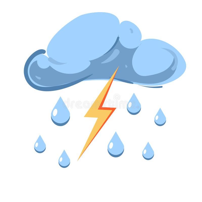 Dirigez le nuage avec la pluie de chute et la foudre saisissante illustration de vecteur