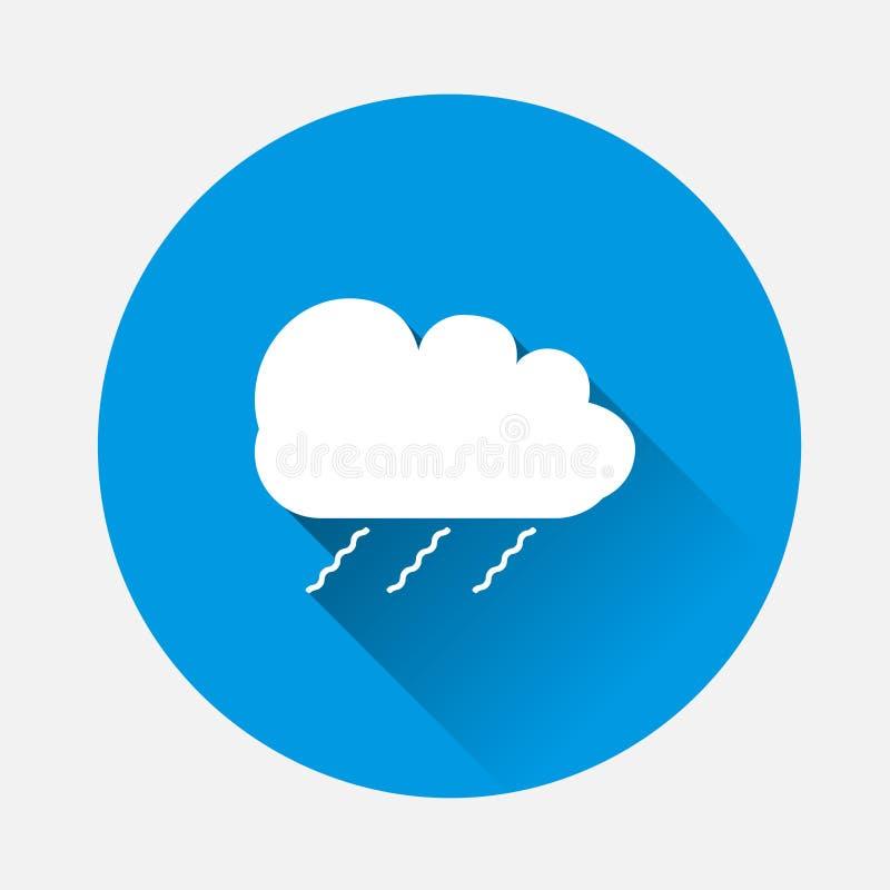 Dirigez le nuage d'icône de la pluie sur le fond bleu Nuage plat W d'image illustration libre de droits