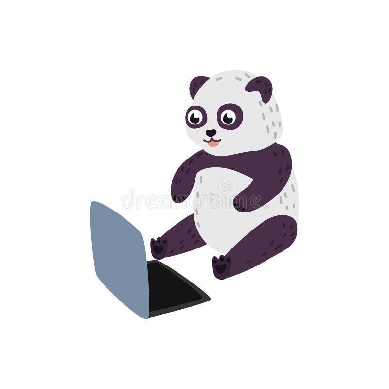 Dirigez le panda de bande dessinée se reposant avec des genoux d'ordinateur portable merci illustration de vecteur