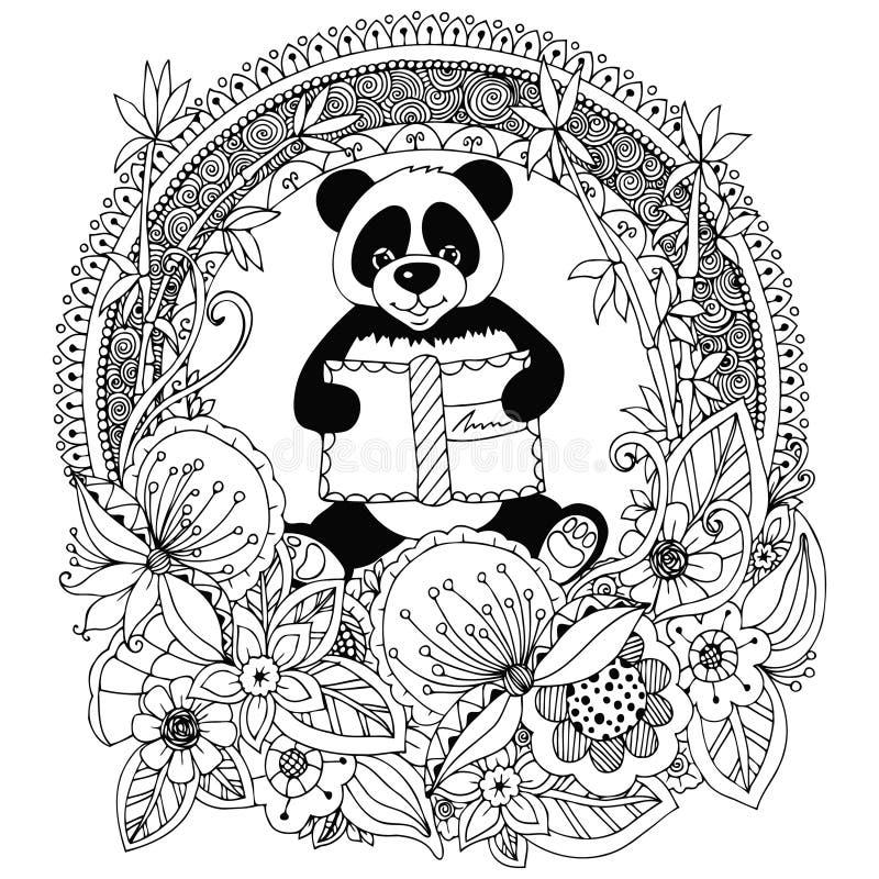 Dirigez le panda de Zen Tangle d'illustration avec un cadre floral de cercle de livre Fleur de griffonnage Anti effort de livre d illustration libre de droits
