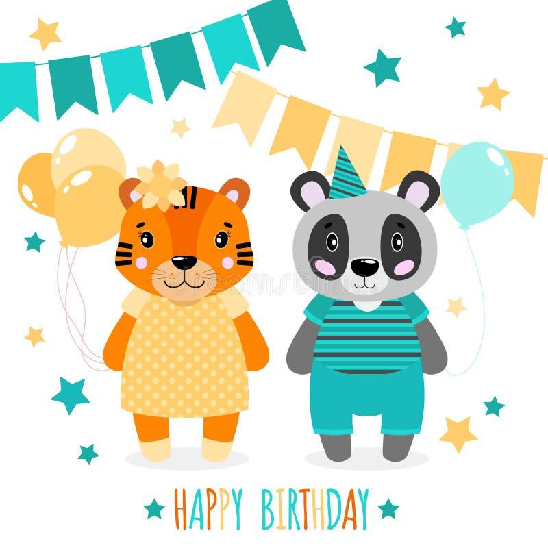 Dirigez le panda, les filles et les garçons heureux mignons de tigre Copie de Scrapbooking Félicitez la carte illustration stock