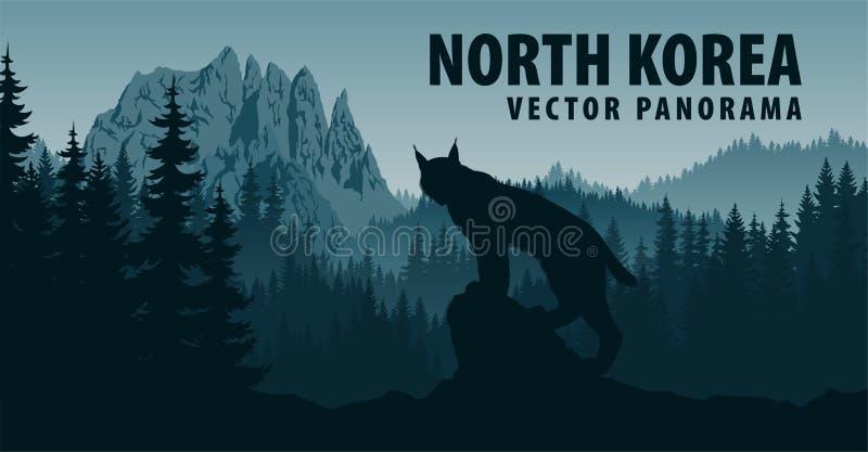 Dirigez le panorama de la Corée du Nord avec la montagne Chilbosan et le lynx dans la région boisée illustration stock
