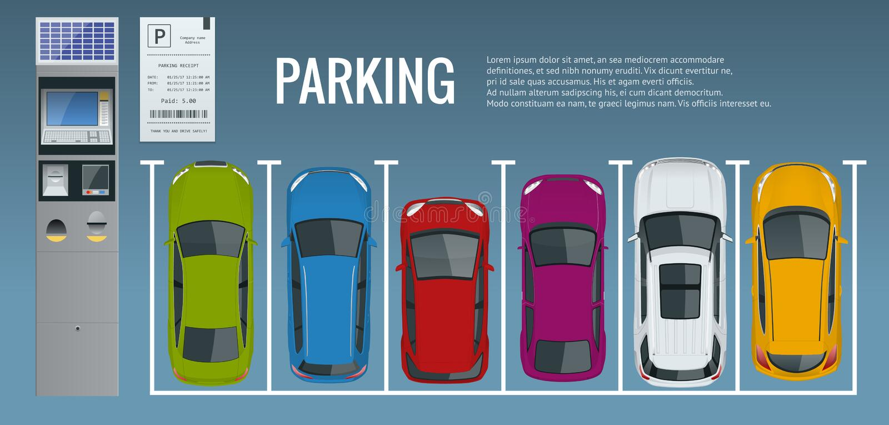 Voitures Dans Le Parking Et Les P.-V.s Invariable Voiture-parc Public Illustration de Vecteur ...