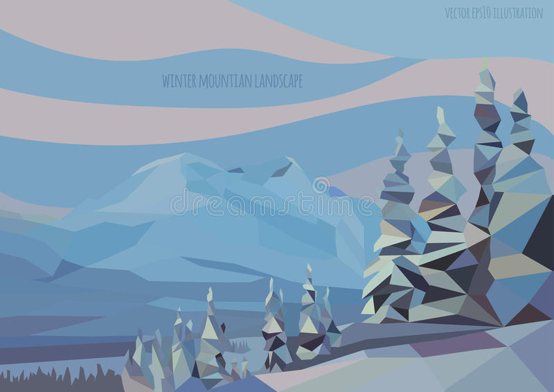 Dirigez le paysage d'hiver avec des montagnes et des arbres de glace illustration de vecteur