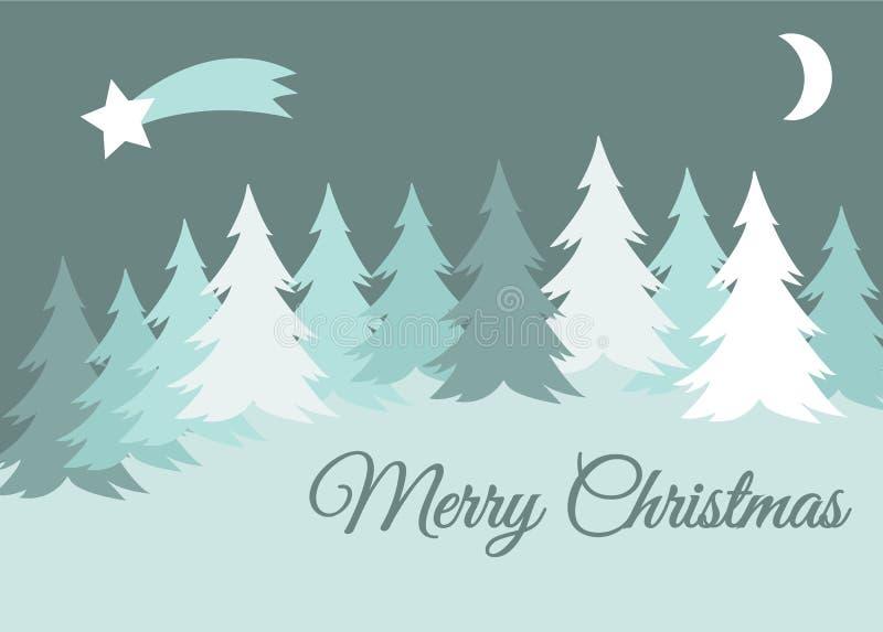 Dirigez le paysage d'hiver de Joyeux Noël avec les collines couvertes par neige et l'arbre impeccable, carte de voeux illustration de vecteur