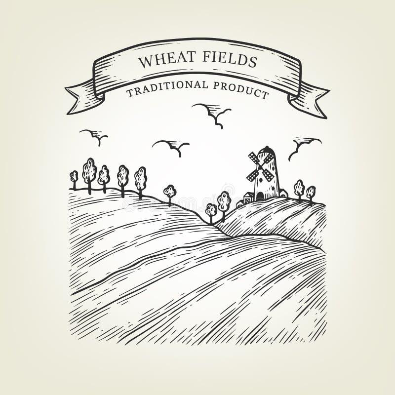 Dirigez le paysage de campagne avec le champ de moulin et de blé Vue rurale faite dans le style graphique illustration stock