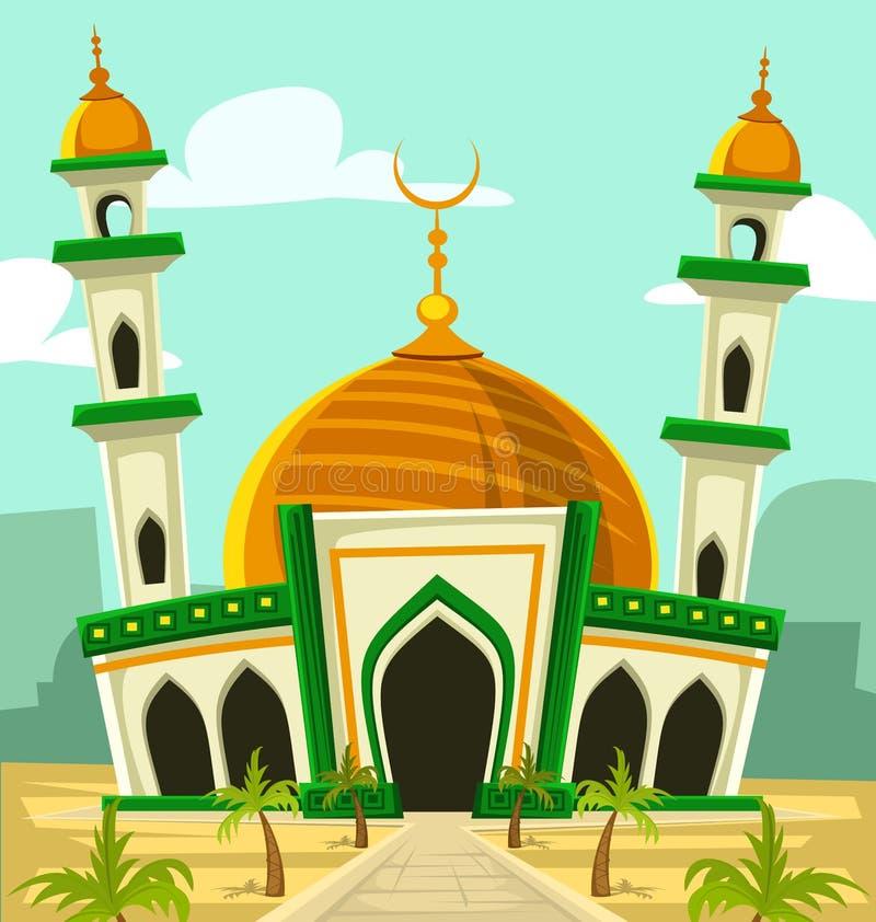 Dirigez le paysage de Moyen-Orient de palmier de dôme d'or d'illustration de bâtiment de mosquée de bande dessinée illustration libre de droits