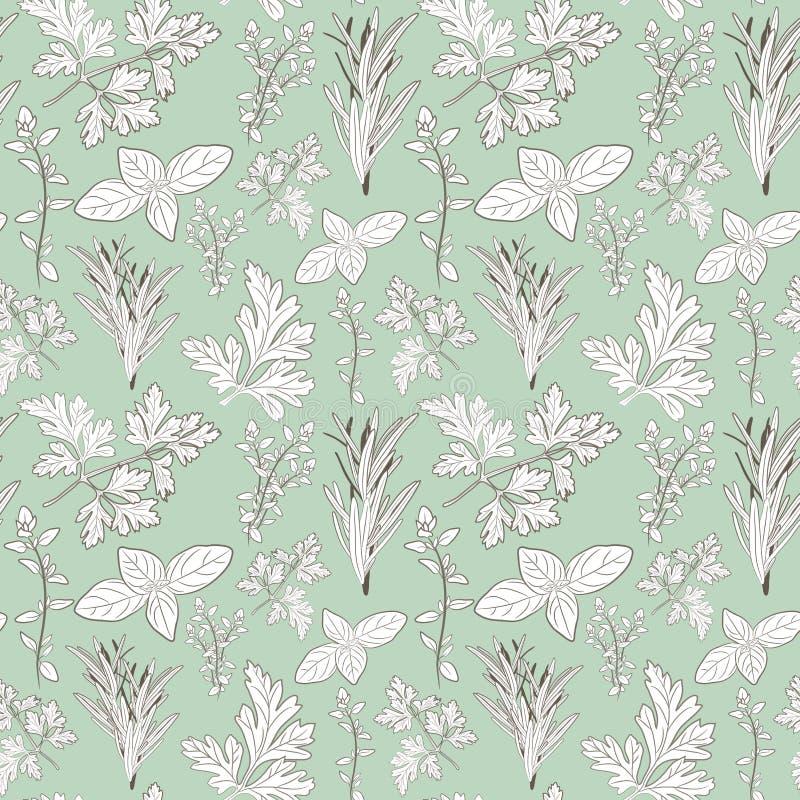Dirigez le persil, le thym, le romarin, et les herbes frais de basilic aromatique illustration stock