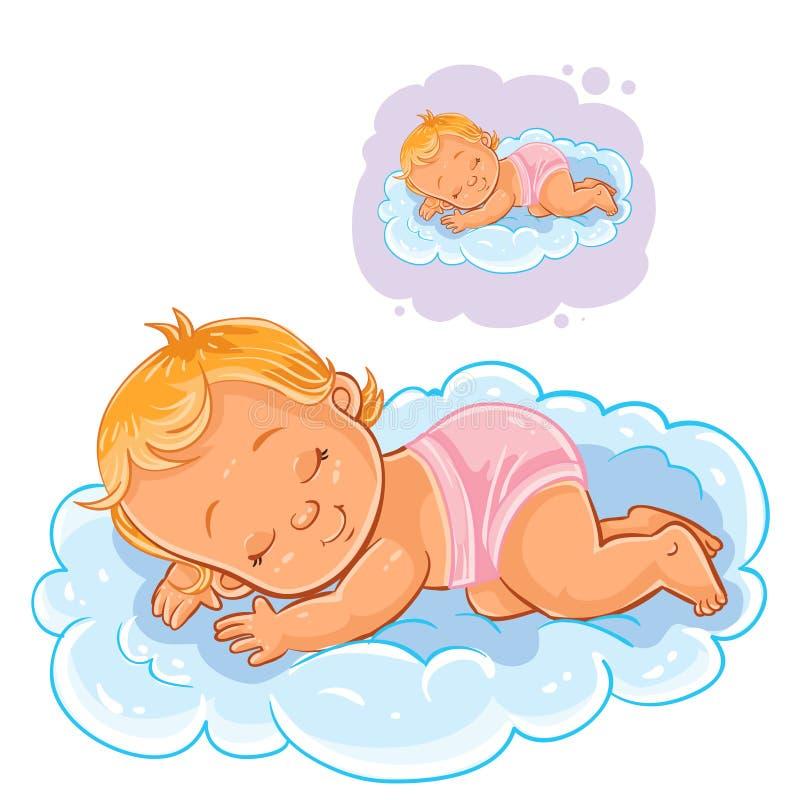 Dirigez le petit bébé dans une couche-culotte endormie utilisant un nuage au lieu d'un oreiller illustration de vecteur