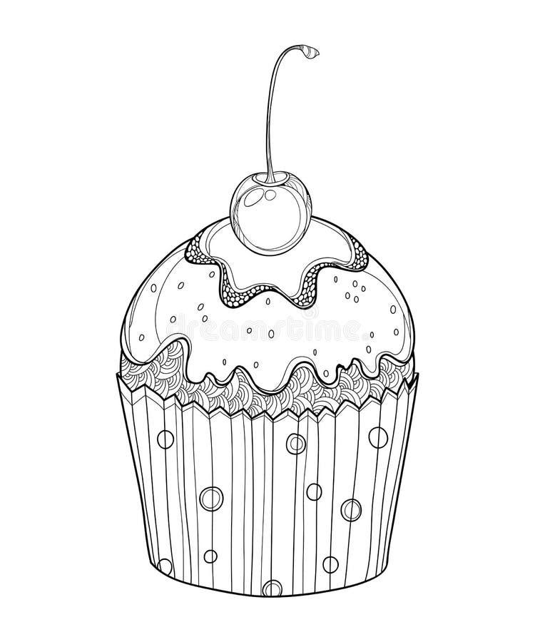 Gâteau De Tasse Avec Cherry Black Silhouette Illustration De