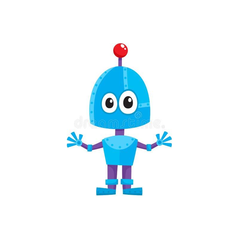 Dirigez le petit robot masculin drôle de garçon de bande dessinée plate illustration de vecteur