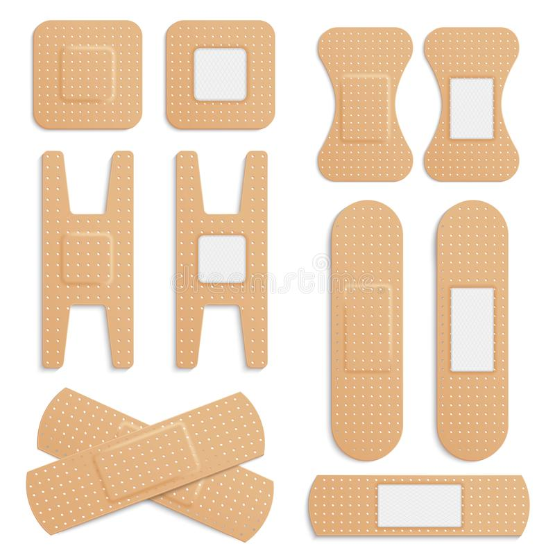 Dirigez le plâtre médical élastique adhésif réaliste, ensemble médical élastique de vecteur de plâtres de bandage d'isolement sur illustration de vecteur