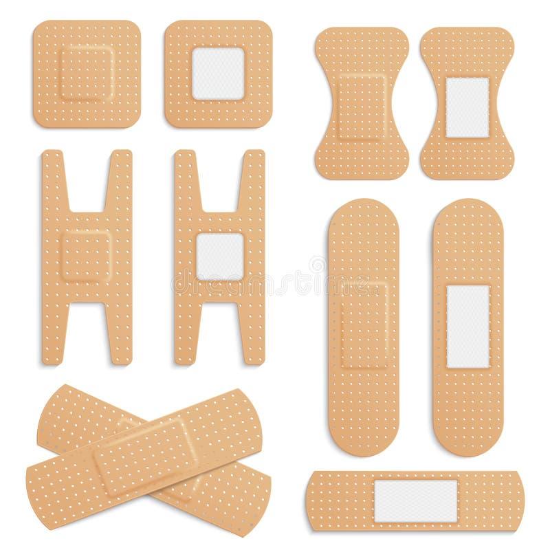 Dirigez le plâtre médical élastique adhésif réaliste, ensemble médical élastique de vecteur de plâtres de bandage d'isolement sur illustration stock