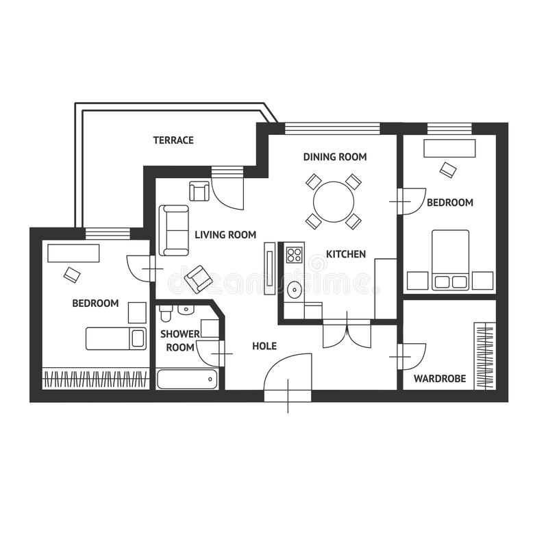 Dirigez le plan d'architecte avec une conception plate de meubles illustration libre de droits