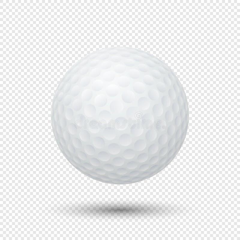 Dirigez le plan rapproché réaliste de boule de golf de vol d'isolement sur le fond transparent Calibre de conception dans EPS10 illustration stock