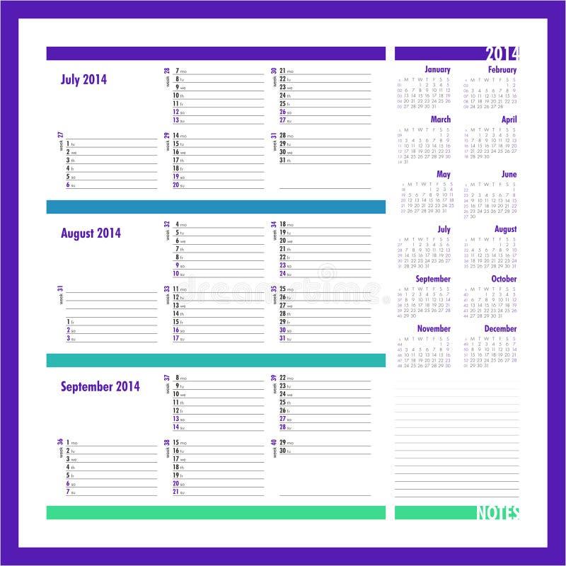 Dirigez le planificateur pour 2014 - juillet, août, septembre illustration stock