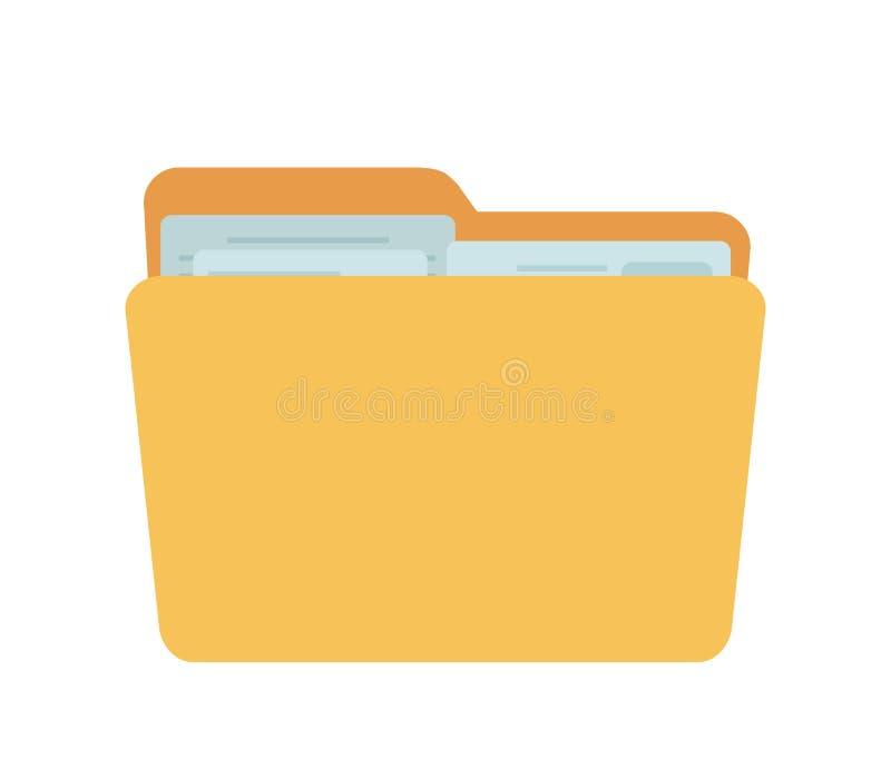Dirigez le plein dossier, récipient jaune pour des documents illustration de vecteur