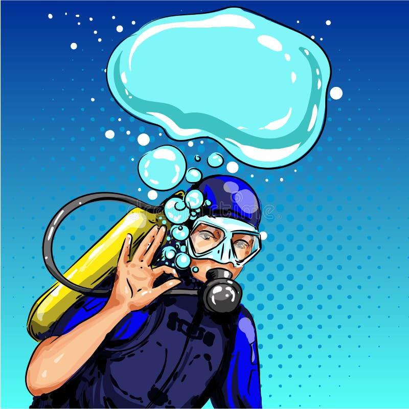 Dirigez le plongeur d'art de bruit montrant le signe correct de main illustration de vecteur