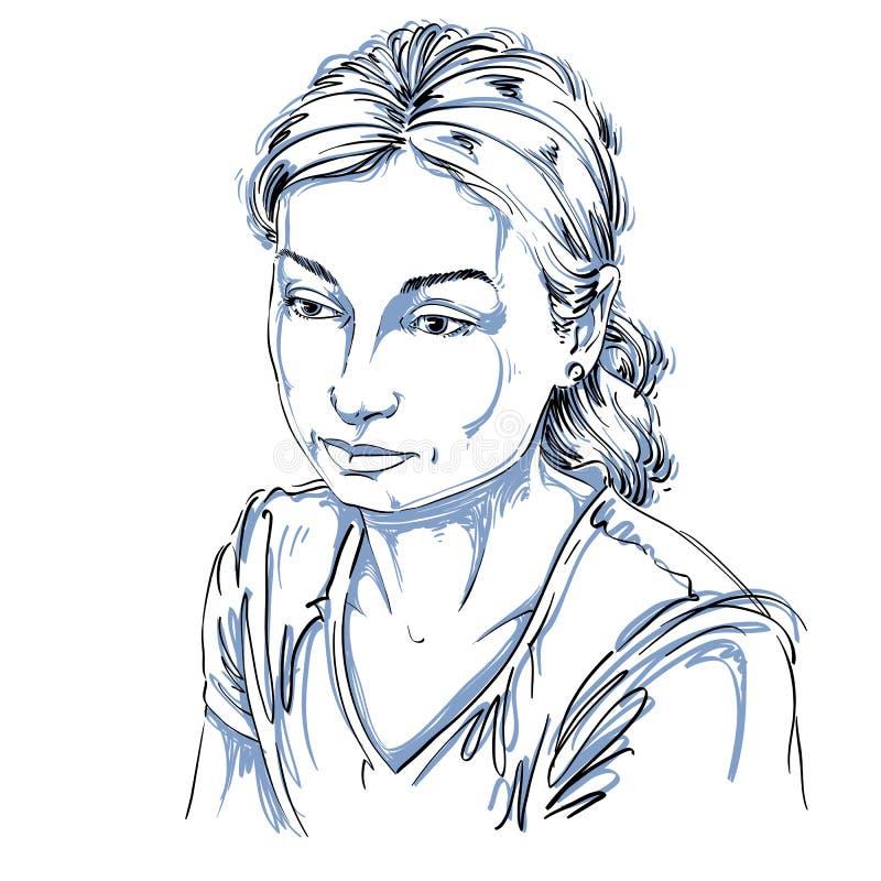 Dirigez le portrait de la femme attirante triste, illustration de bon-lo illustration de vecteur
