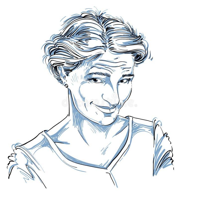 Dirigez le portrait de la femme blâmable attirante, illustration de illustration libre de droits
